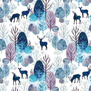Steel blue forest deer on white