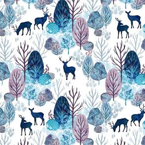 Steel blue forest deer on white