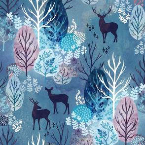 Steel blue forest deer