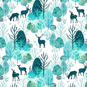 Emerald forest deer on white