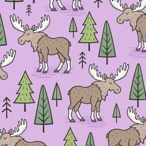 Forest Woodland Moose & Trees on Purple