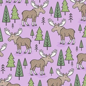 Forest Woodland Moose & Trees on Purple Smaller