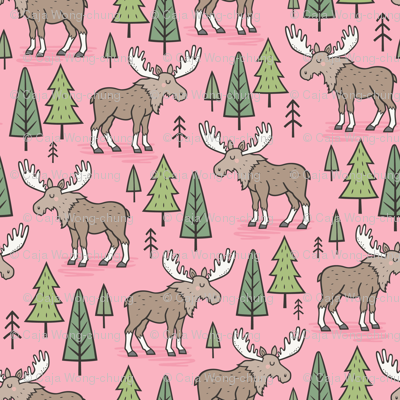 Forest Woodland Moose & Trees on Pink Smaller