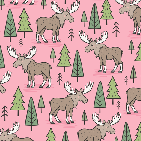 Forest Woodland Moose & Trees on Pink Smaller fabric by caja_design on Spoonflower - custom fabric