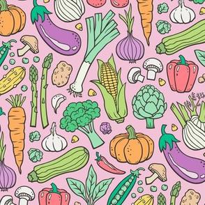 Vegetables Food Doodle on Light Pink Smaller