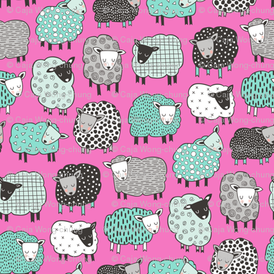 Sheep Geometric Patterned Black & White Grey  Mint Green on Dark Pink