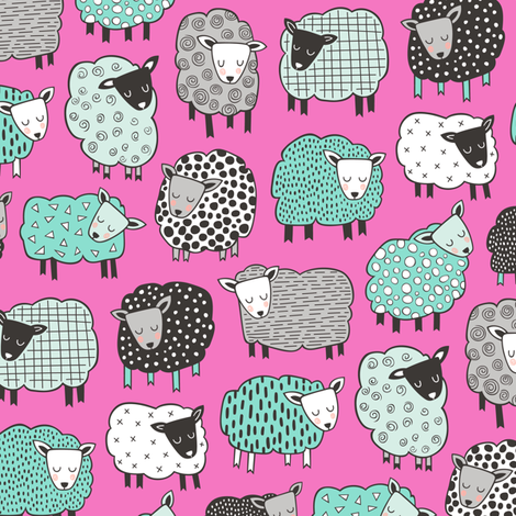 Sheep Geometric Patterned Black & White Grey  Mint Green on Dark Pink fabric by caja_design on Spoonflower - custom fabric