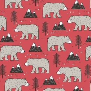Mountain Bear  Woodland on Red Smaller