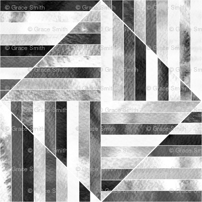 Modern Bauhaus Watercolor Diamonds In Black And White - Big
