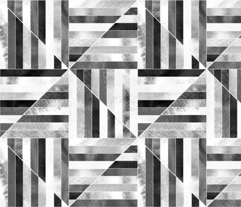 Modern Bauhaus Watercolor Diamonds In Black And White - Big fabric by tigatiga on Spoonflower - custom fabric