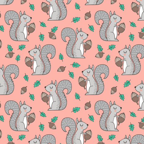 Forest Squirrel Squirrels with Leaves &  Acorn Autumn Fall on Peach Smaller fabric by caja_design on Spoonflower - custom fabric