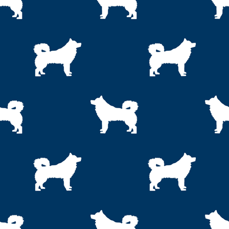 alaskan malamute silhouette dog breed fabric navy fabric by petfriendly on Spoonflower - custom fabric