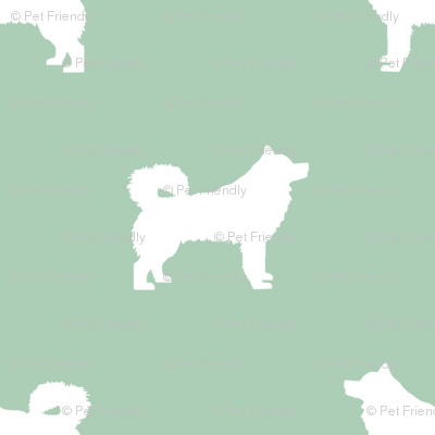 alaskan malamute silhouette dog breed fabric mint