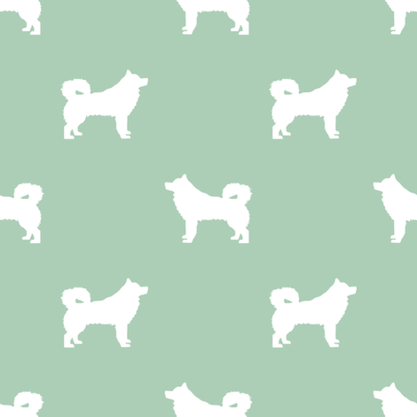 alaskan malamute silhouette dog breed fabric mint fabric by petfriendly on Spoonflower - custom fabric