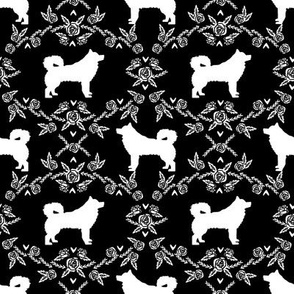 alaskan malamute floral silhouette dog breed fabric black