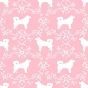 alaskan malamute floral silhouette dog breed fabric blossom pink