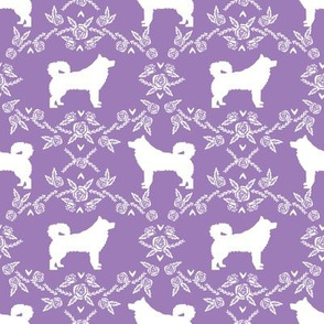 alaskan malamute floral silhouette dog breed fabric lilac