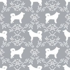 alaskan malamute floral silhouette dog breed fabric quarry grey