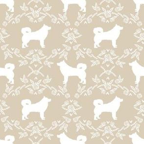 alaskan malamute floral silhouette dog breed fabric sand