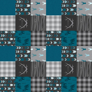 "3"" Fox And Deer Wholecloth Quilt - Little Man - Blue, Teal, Black, Grey - ROTATED"