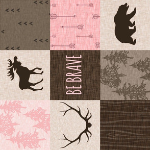 Be Brave Woodland Quilt - Pink and Brown - rotated