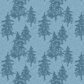 small evergreen trees - medium blue