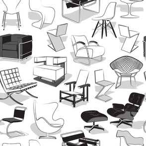 Have a seat in Bauhaus style and influence  // white background black white grey chairs