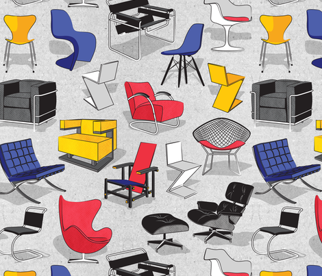 Have a seat in Bauhaus style and influence  // cardboard grey background fabric by selmacardoso on Spoonflower - custom fabric