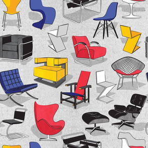 Have a seat in Bauhaus style and influence  // cardboard grey background