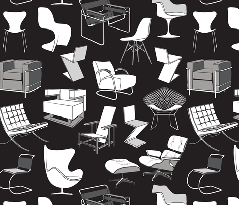 Have a seat in Bauhaus style and influence  // black background black grey and white chairs fabric by selmacardoso on Spoonflower - custom fabric