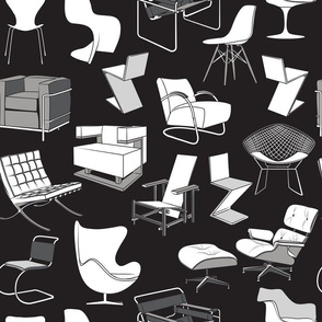 Have a seat in Bauhaus style and influence  // black background black grey and white chairs