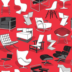 Have a seat in Bauhaus style and influence  // red background black grey and white chairs