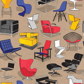 Have a seat in Bauhaus style and influence  // cardboard beige background white red blue yellow chairs