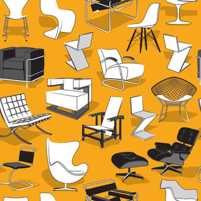 Have a seat in Bauhaus style and influence  // yellow mustard background black grey and white chairs