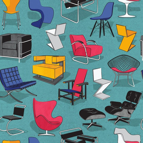 Have a seat in Bauhaus style and influence  // cardboard teal background white pink blue yellow chairs