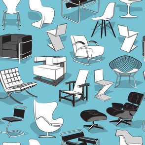 Have a seat in Bauhaus style and influence  // blue background black grey and white chairs
