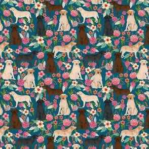 labrador florals (small scale) yellow lab chocolate lab black lab cute dog dogs best floral labrador print