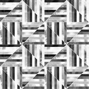 Modern Bauhaus Watercolor Diamonds In Black And White - Small
