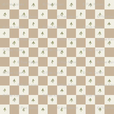 Buffalo Check with Pine Trees in Beige