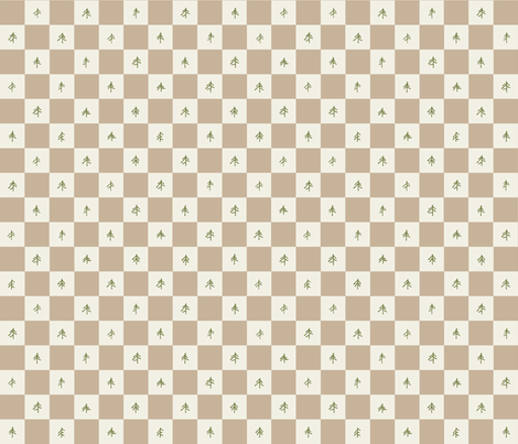 Buffalo Check with Pine Trees in Beige fabric by outside_the_line on Spoonflower - custom fabric