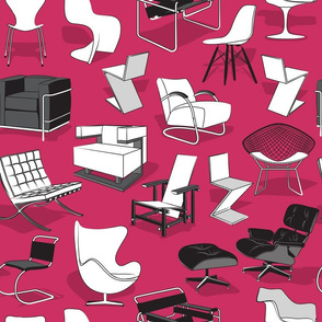 Have a seat in Bauhaus style and influence  // pink background black grey and white chairs