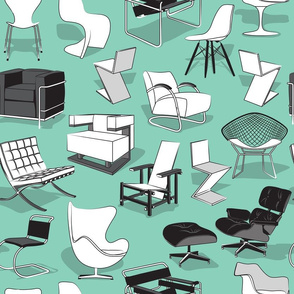 Have a seat in Bauhaus style and influence  // aqua background black grey and white chairs
