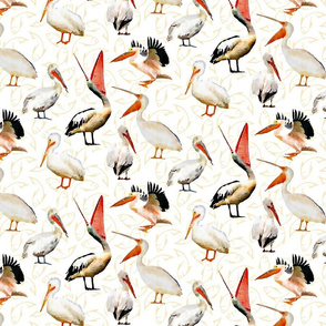Pelicans on Fish Background