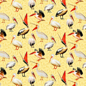 watercolor pelicans on cream yellow background with fish