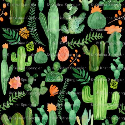 Green Cactus on Black Background