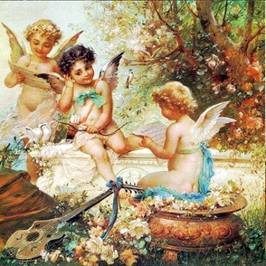 cherubs angels cupid children boys wings victorian romantic antique vintage music musical notes lute mandolin flowers floral garden bow arrow birds doves trees egl elegant gothic lolita baroque