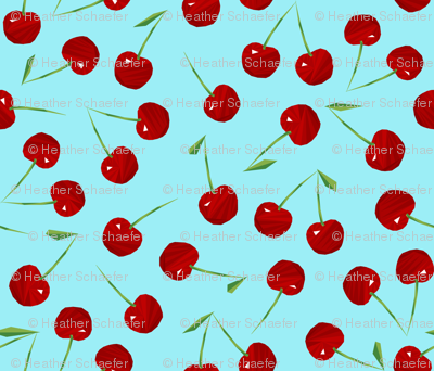 Cherries Cherries on Blue