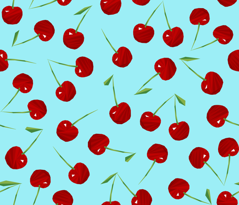 Cherries Cherries on Blue fabric by artsytoocreations on Spoonflower - custom fabric