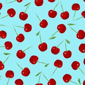 Cherries Cherries on Blue
