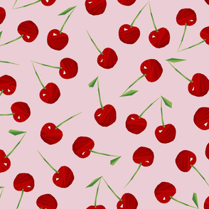 Cherries Cherries on Pink